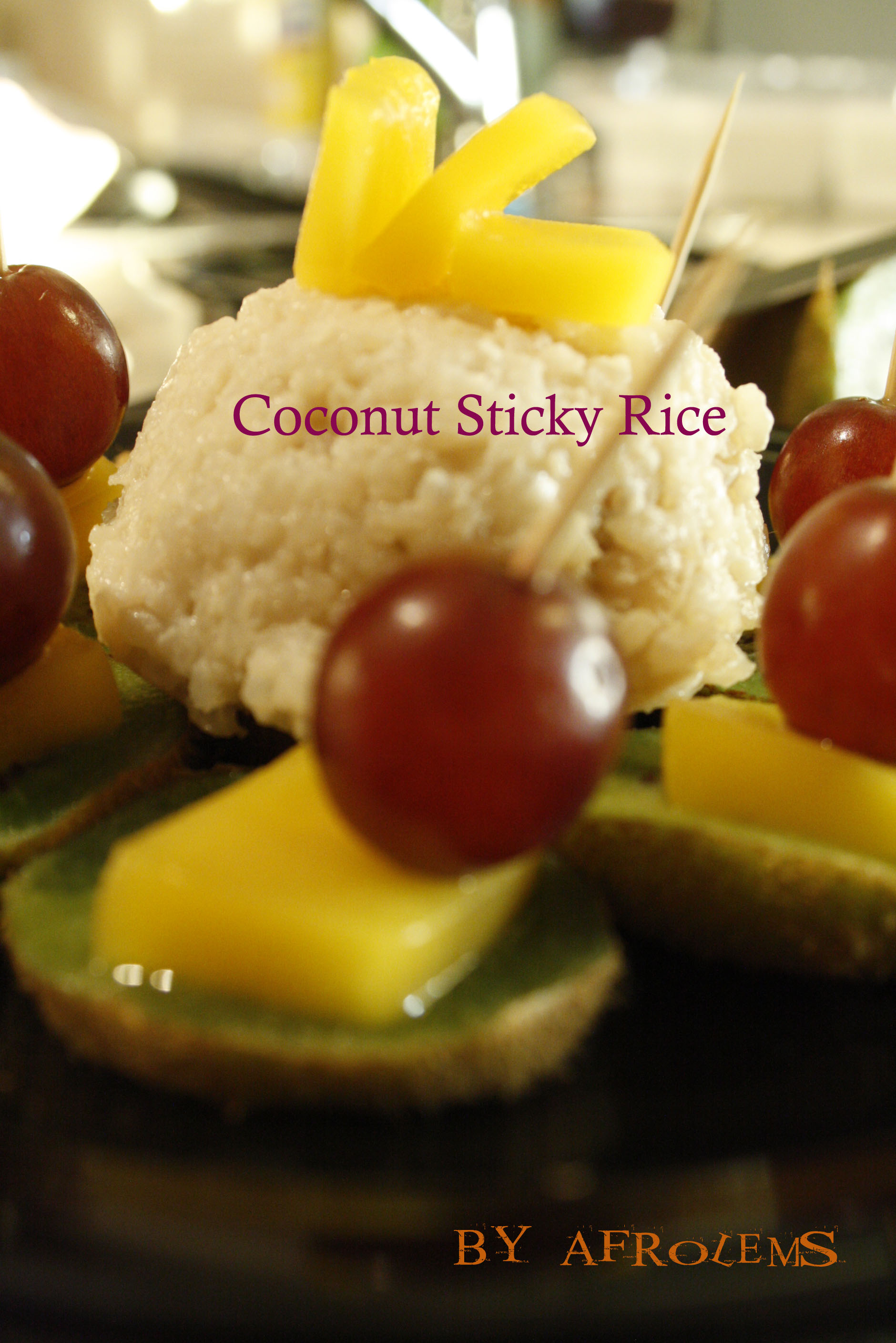 Coconut Sticky Rice with Mango, Kiwi and Grapes | Afrolems | Nigerian ...