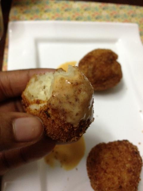 Yam balls with peri peri sauce